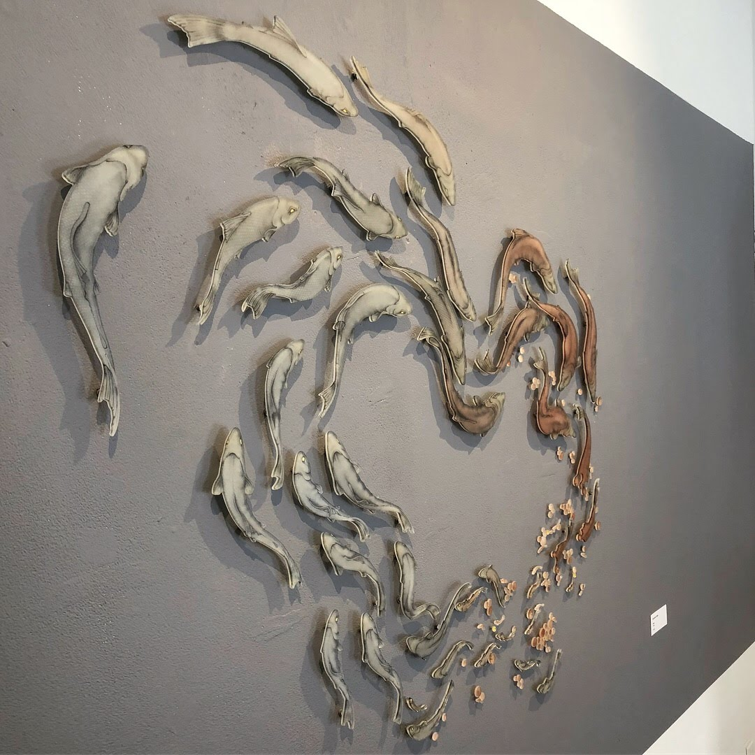 glass drawing of fish by Suzanne Head in galley
