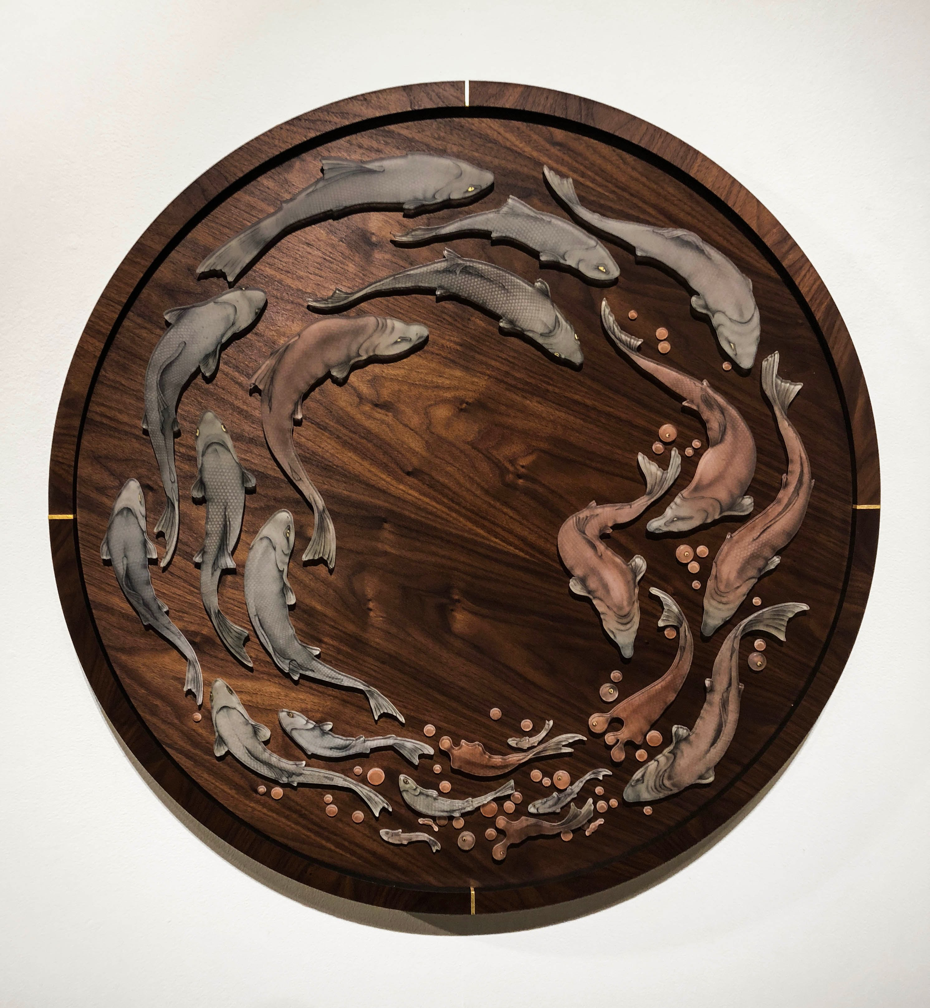 Suzanne Head glass drawing on walnut veneer