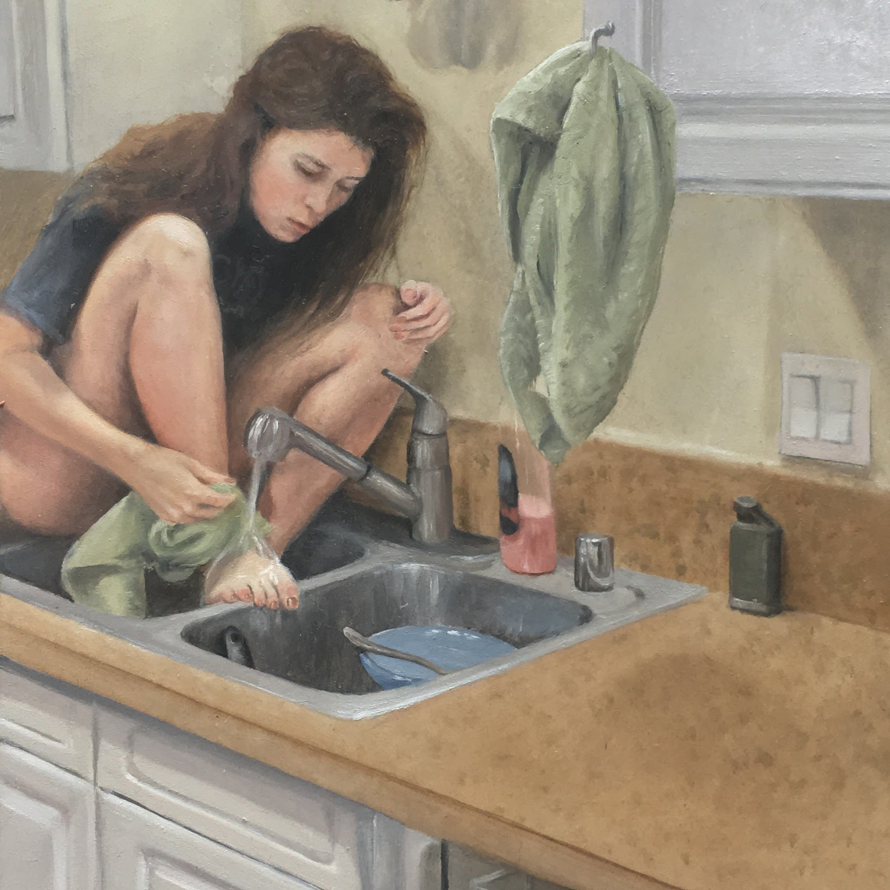 Oil painting of girl in kitchen sink by Suzanne Head