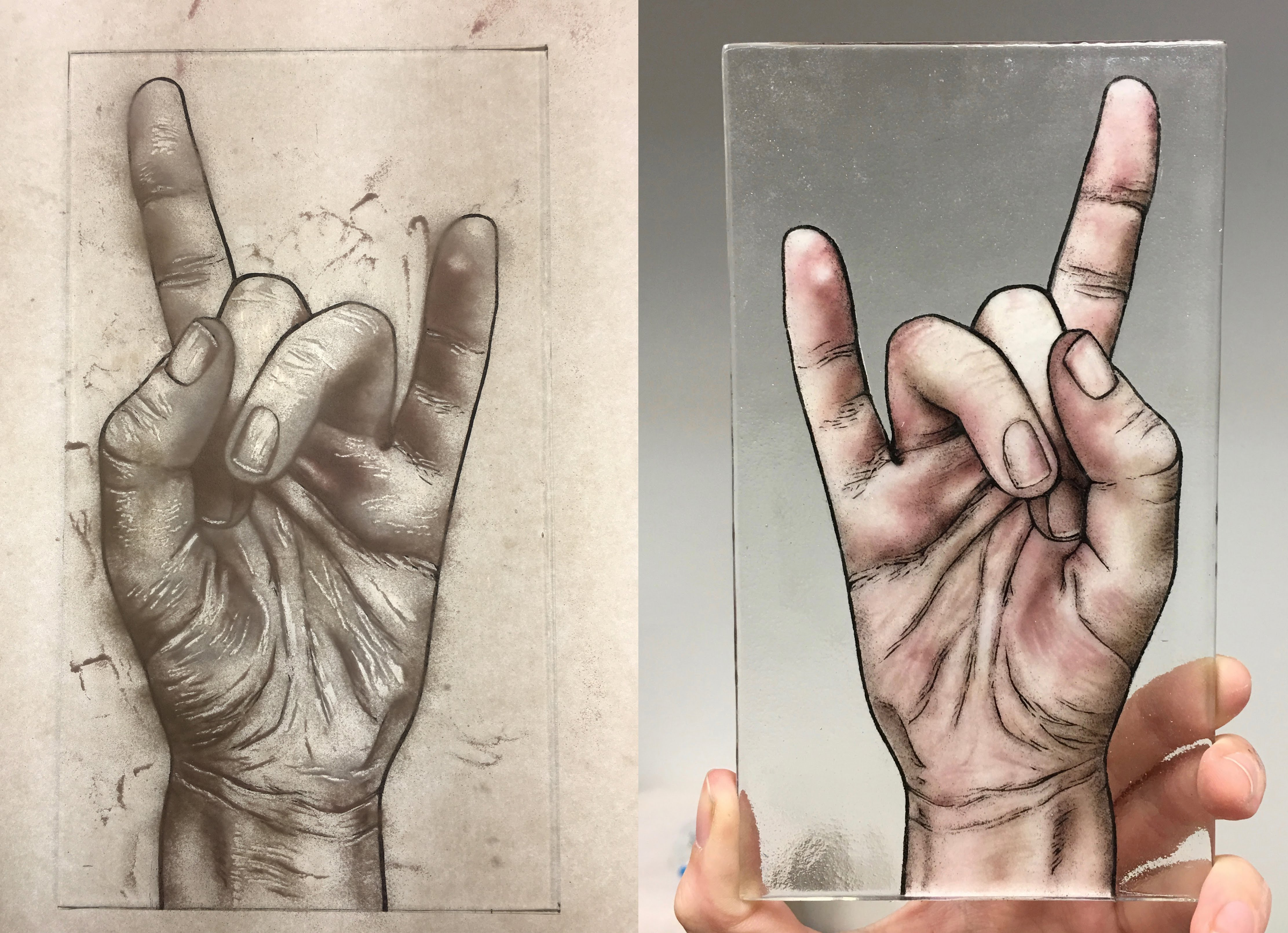 Glass powder drawing of a hand by Suzanne Head
