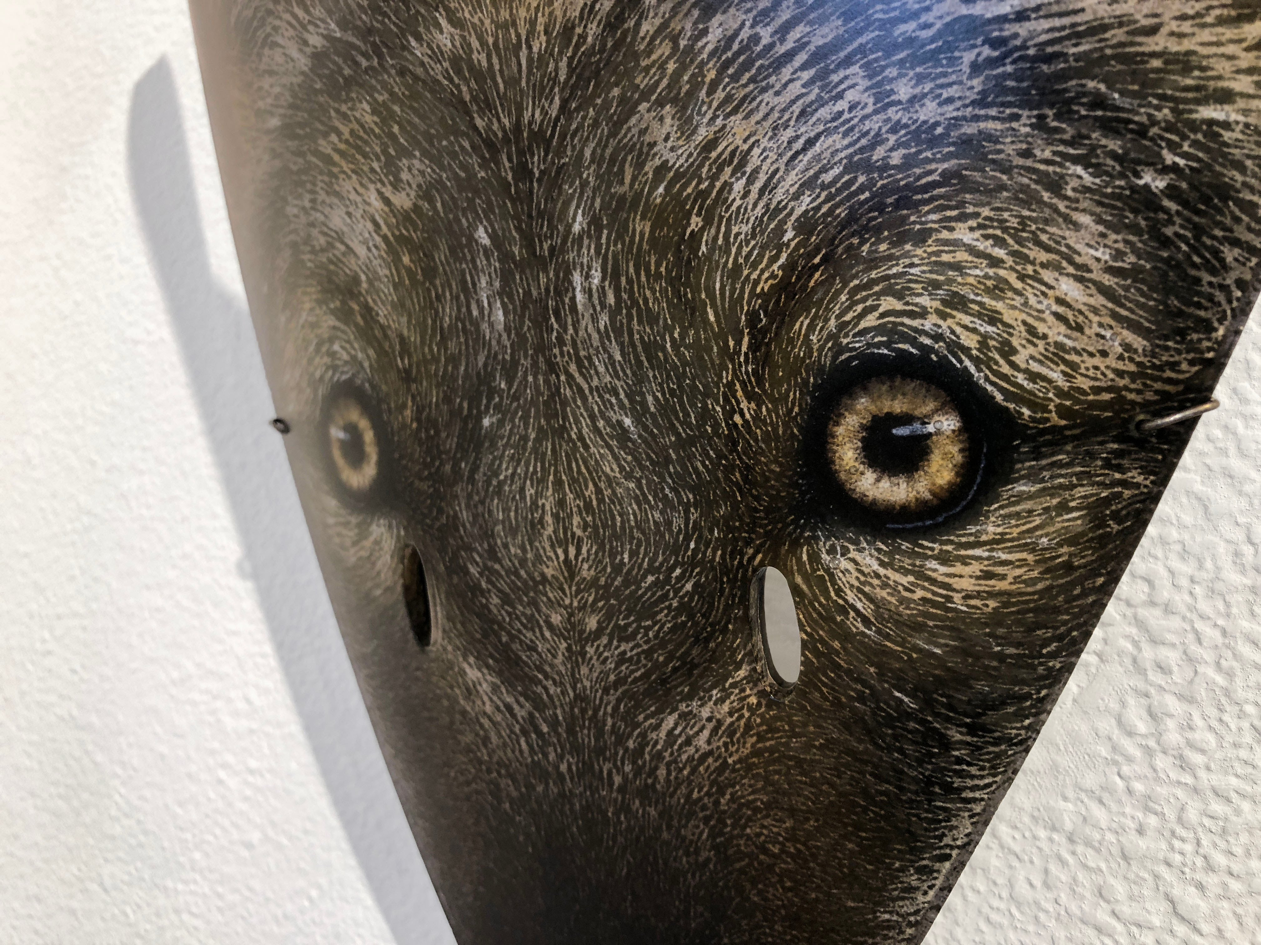 Fused glass coyote mask by Suzanne Head