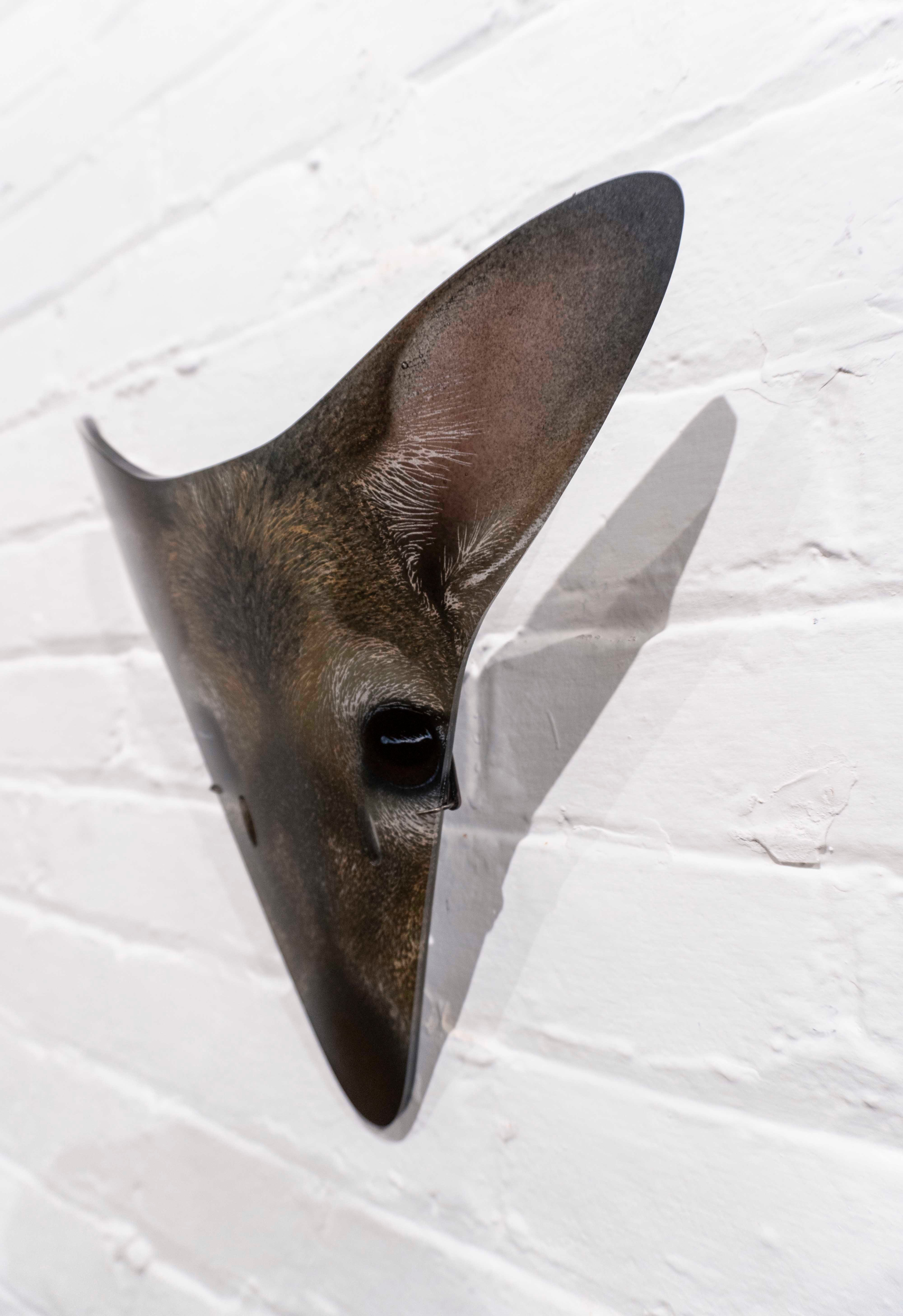 Glass deer mask by Suzanne Head